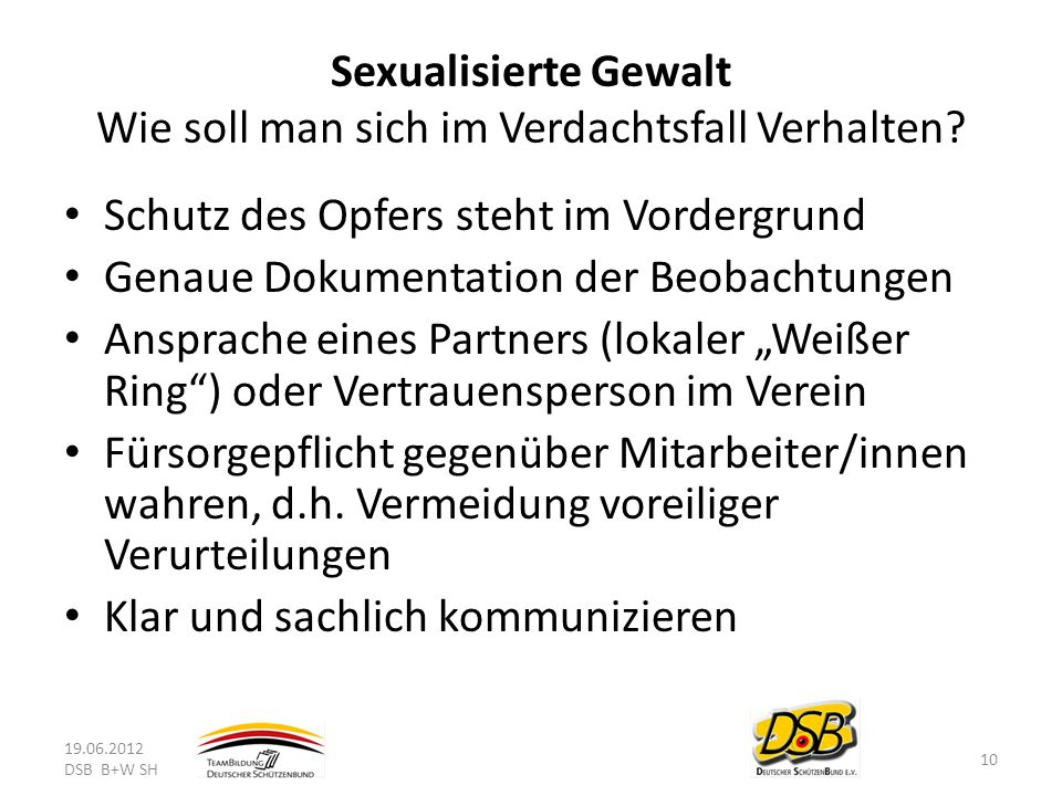 Sexualisierte Gewalt Wie soll man sich im Verdachtsfall Verhalten