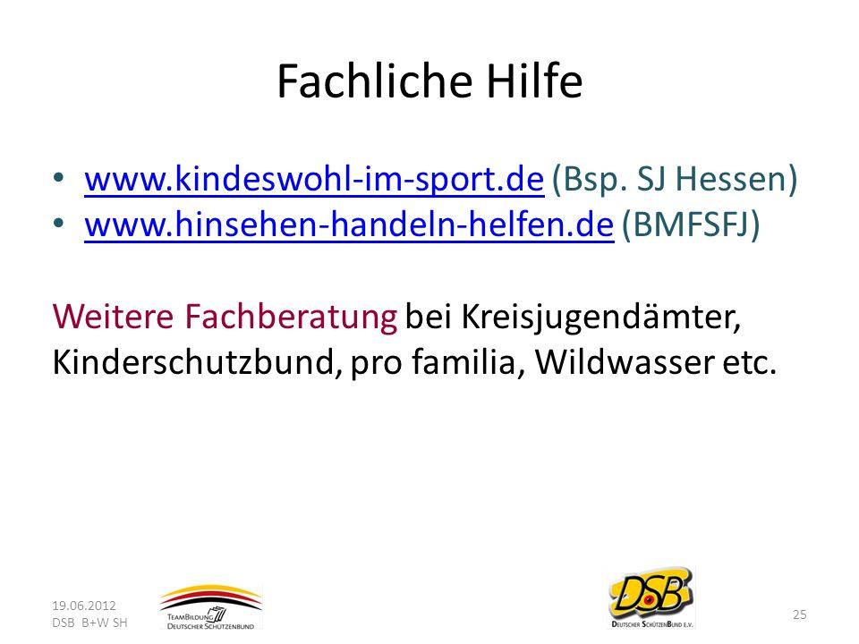 Fachliche Hilfe www.kindeswohl-im-sport.de (Bsp. SJ Hessen)