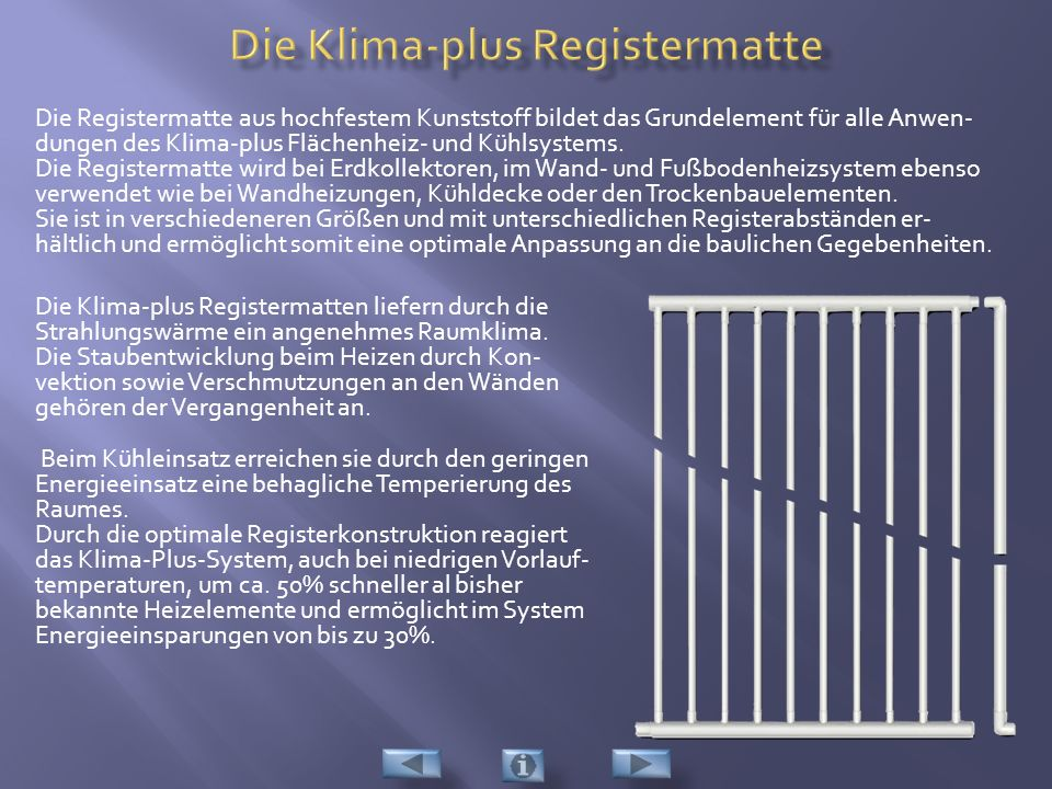 Die Klima-plus Registermatte