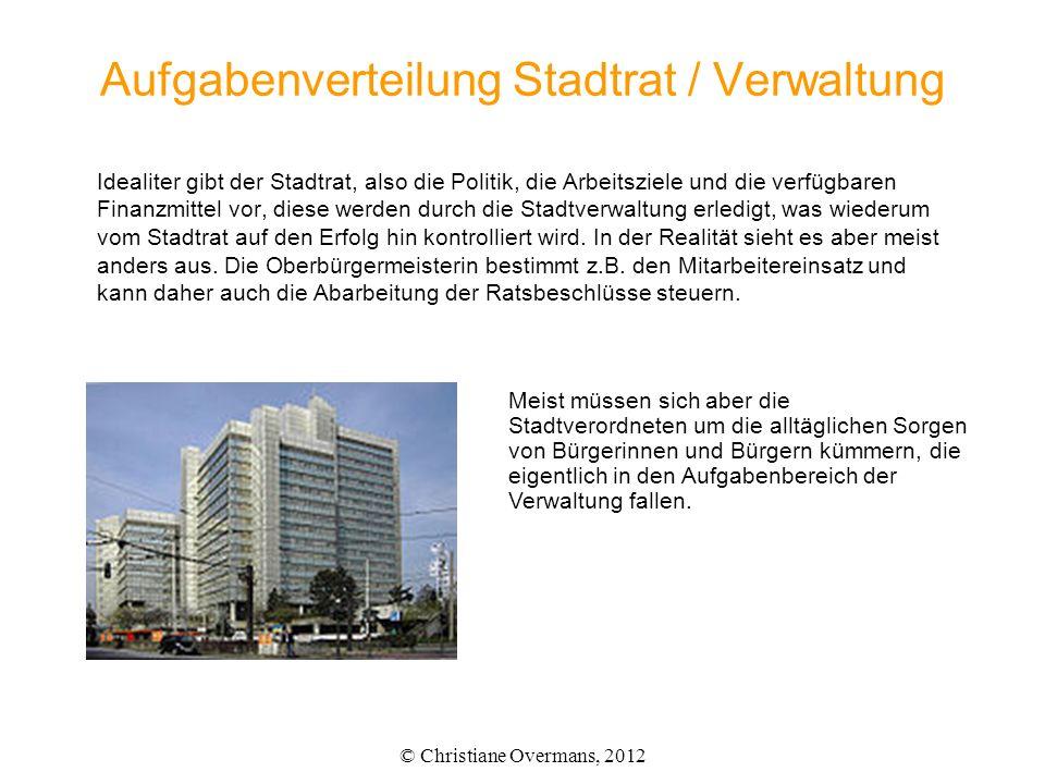 Aufgabenverteilung Stadtrat / Verwaltung