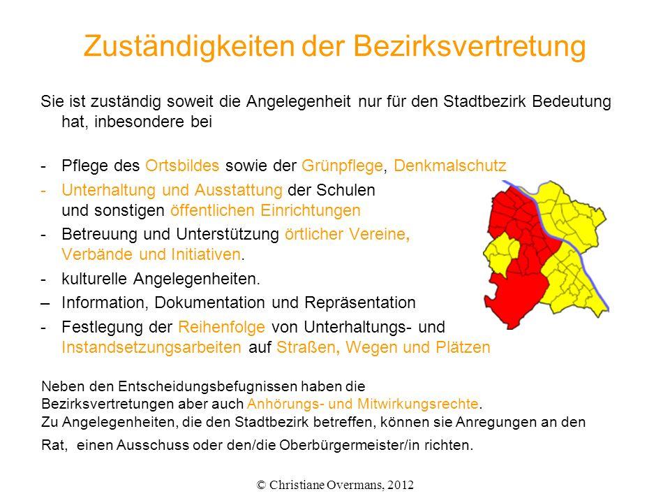 Zuständigkeiten der Bezirksvertretung