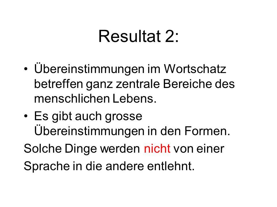 Resultat 2:Übereinstimmungen im Wortschatz betreffen ganz zentrale Bereiche des menschlichen Lebens.