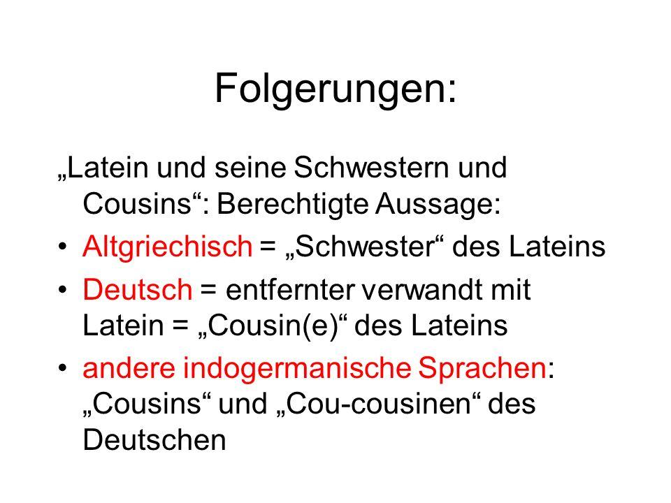 """Folgerungen:""""Latein und seine Schwestern und Cousins : Berechtigte Aussage: • Altgriechisch = """"Schwester des Lateins."""
