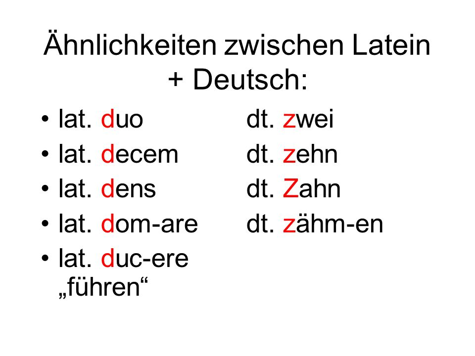 Ähnlichkeiten zwischen Latein + Deutsch: