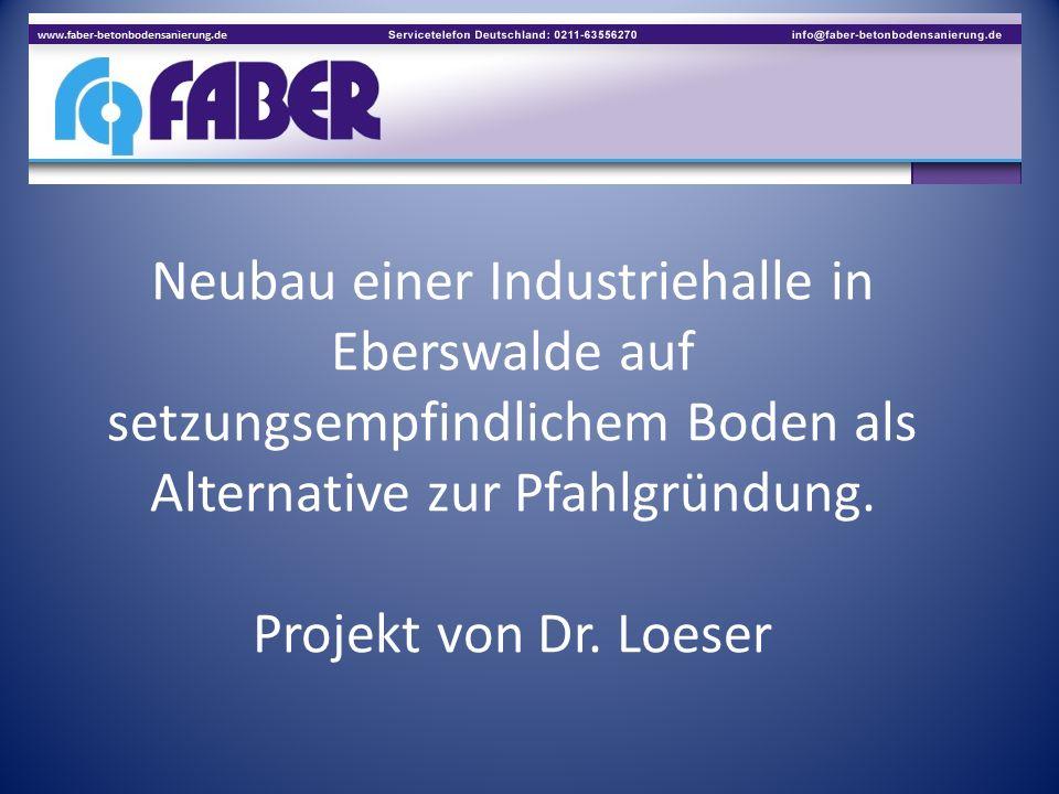 Neubau einer Industriehalle in Eberswalde auf setzungsempfindlichem Boden als Alternative zur Pfahlgründung.