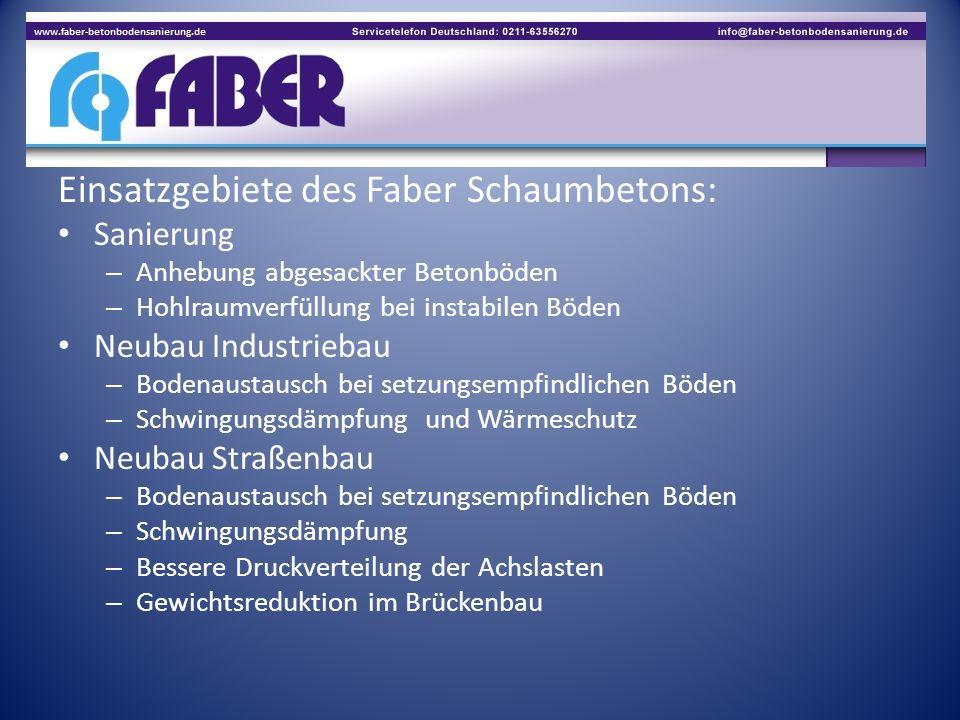 Einsatzgebiete des Faber Schaumbetons: