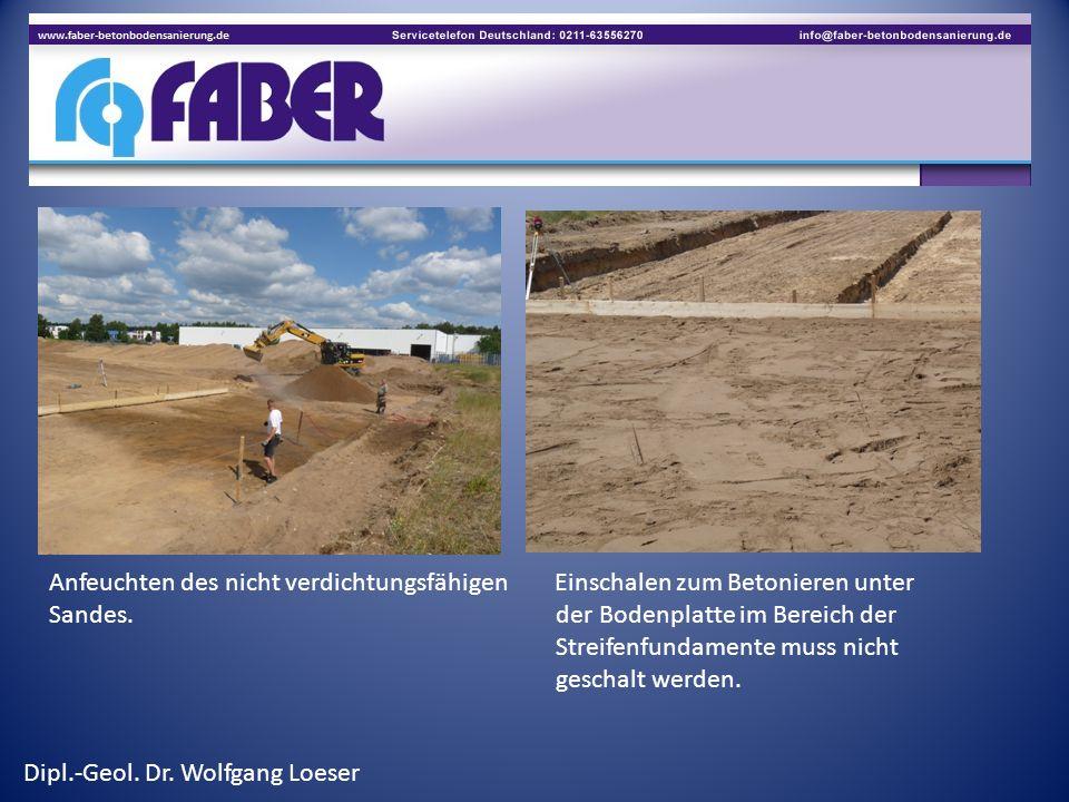Anfeuchten des nicht verdichtungsfähigen Einschalen zum Betonieren unter Sandes. der Bodenplatte im Bereich der