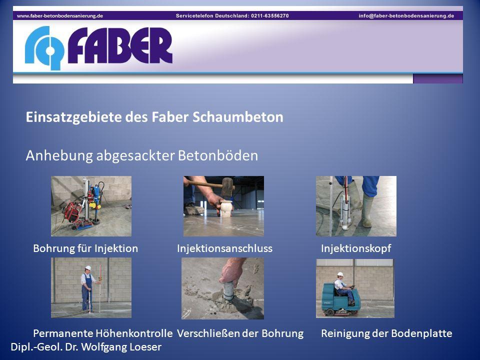 Einsatzgebiete des Faber Schaumbeton Anhebung abgesackter Betonböden