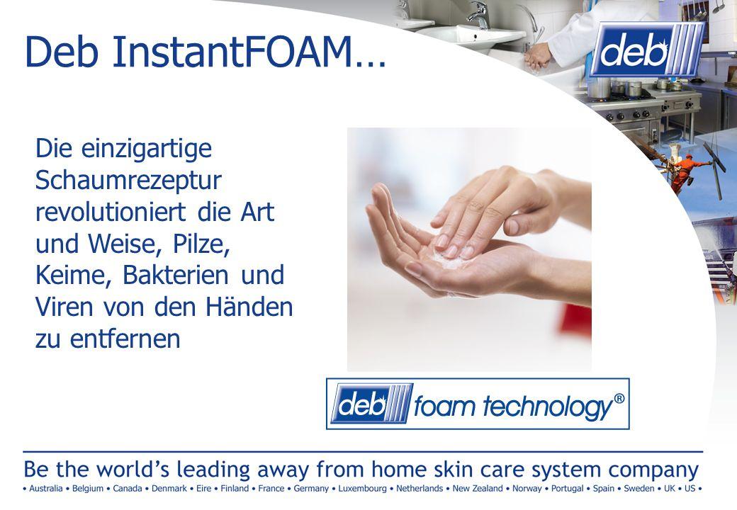 Deb InstantFOAM… Die einzigartige Schaumrezeptur revolutioniert die Art und Weise, Pilze, Keime, Bakterien und Viren von den Händen zu entfernen.