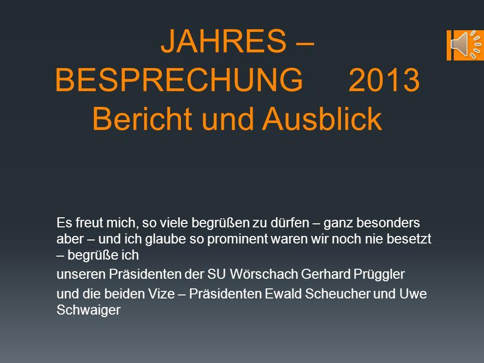 JAHRES – BESPRECHUNG 2013 Bericht und Ausblick