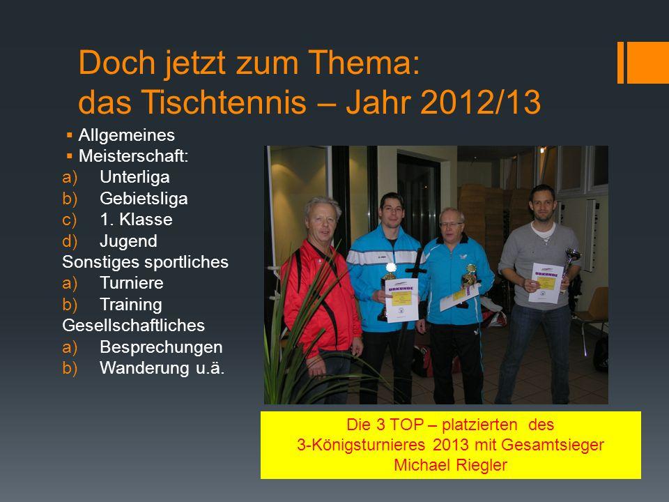 Doch jetzt zum Thema: das Tischtennis – Jahr 2012/13