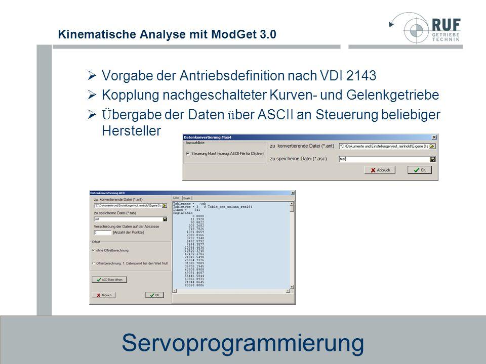 Servoprogrammierung Vorgabe der Antriebsdefinition nach VDI 2143