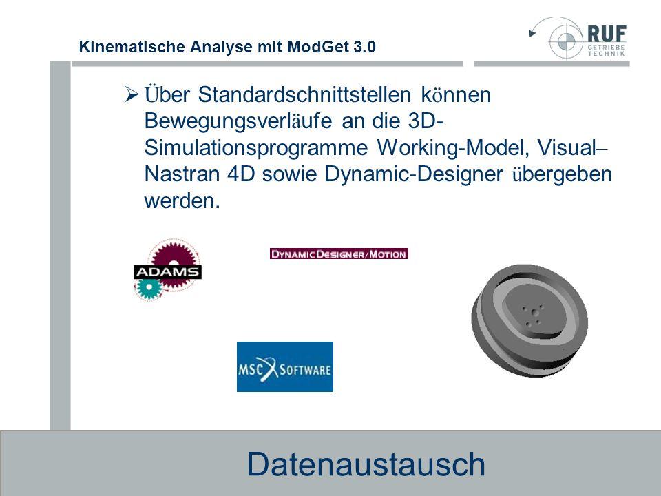 Über Standardschnittstellen können Bewegungsverläufe an die 3D-Simulationsprogramme Working-Model, Visual–Nastran 4D sowie Dynamic-Designer übergeben werden.