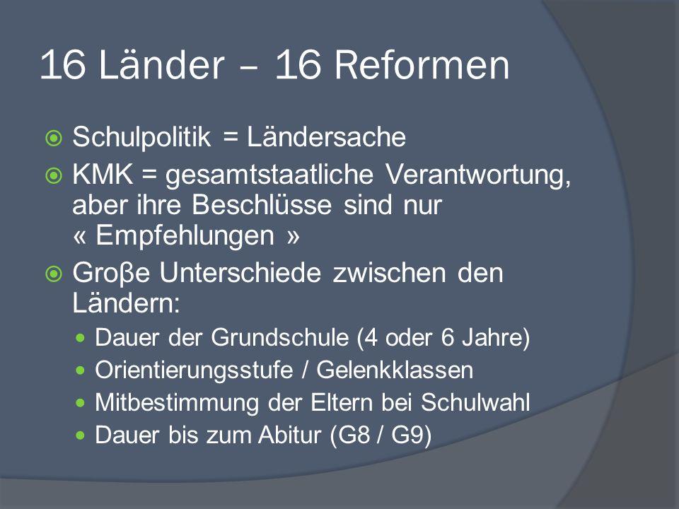 16 Länder – 16 Reformen Schulpolitik = Ländersache