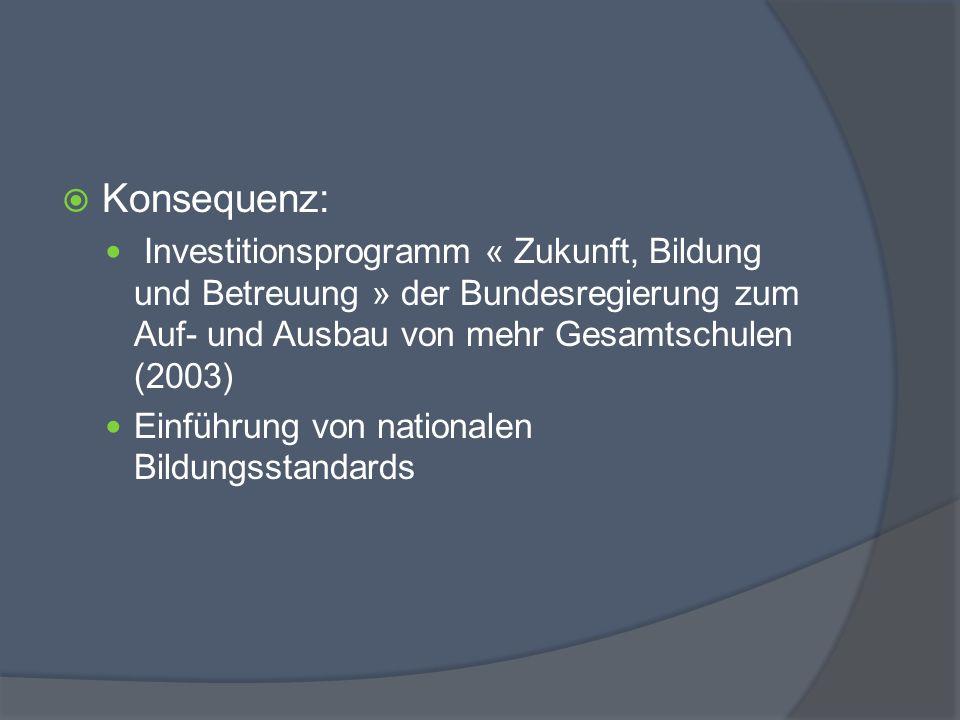 Konsequenz: Investitionsprogramm « Zukunft, Bildung und Betreuung » der Bundesregierung zum Auf- und Ausbau von mehr Gesamtschulen (2003)