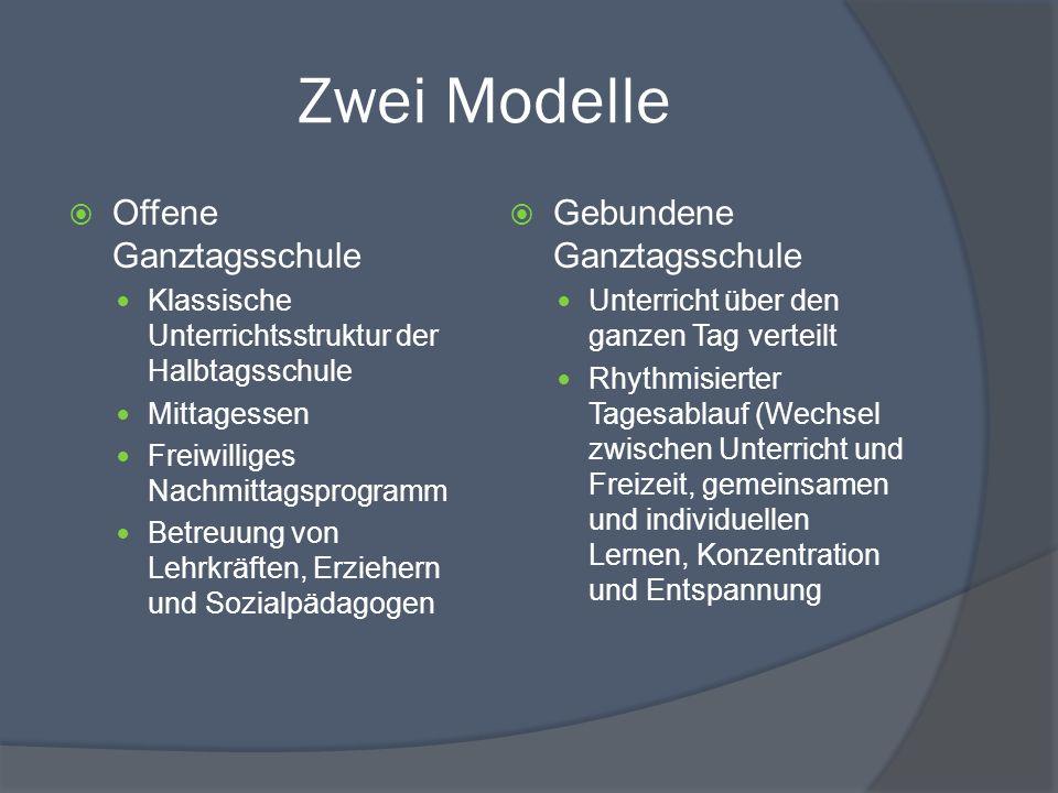 Zwei Modelle Offene Ganztagsschule Gebundene Ganztagsschule