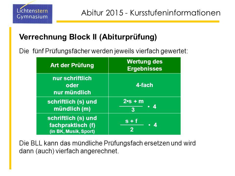 Verrechnung Block II (Abiturprüfung)