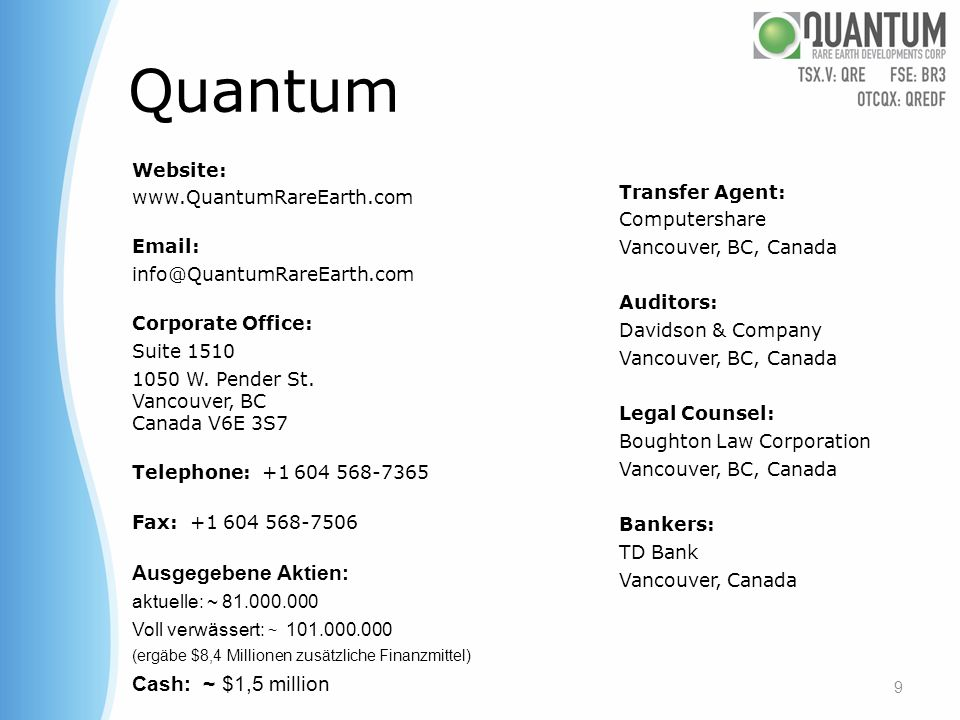 Quantum Ausgegebene Aktien: Cash: ~ $1,5 million Website: