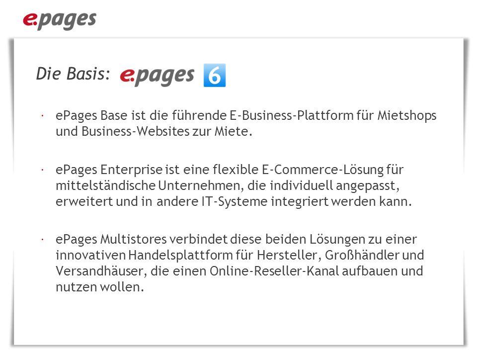 Die Basis: ePages Base ist die führende E-Business-Plattform für Mietshops und Business-Websites zur Miete.