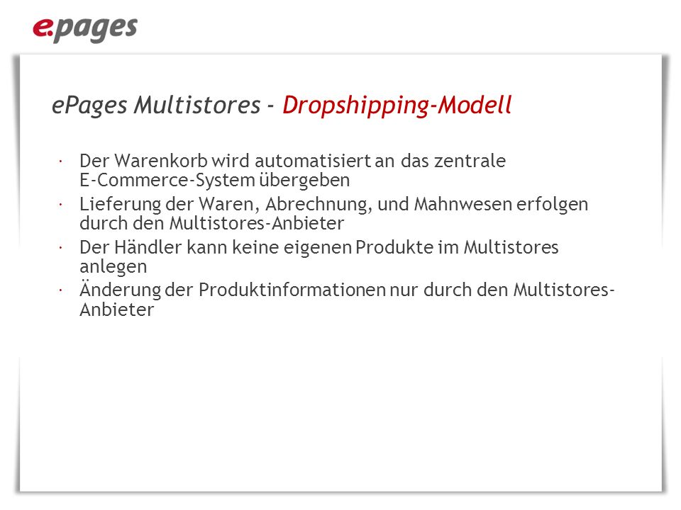ePages Multistores - Dropshipping-Modell
