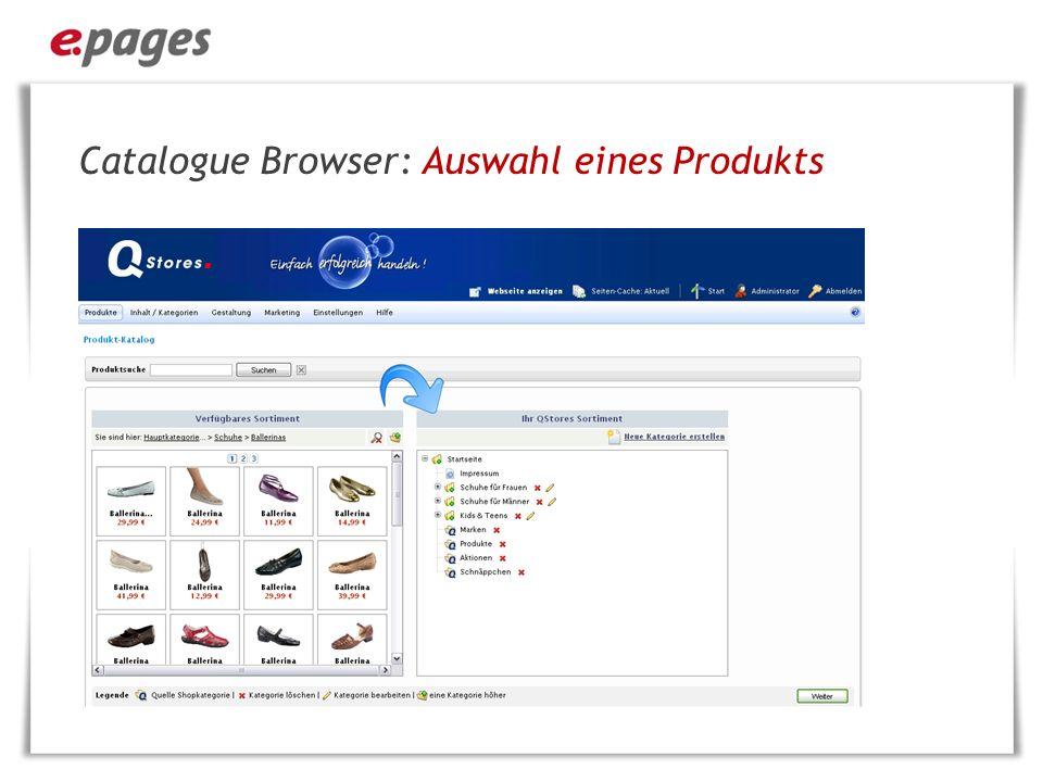 Catalogue Browser: Auswahl eines Produkts