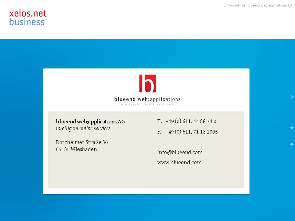 Kontakt blueend web:applications AG intelligent online services