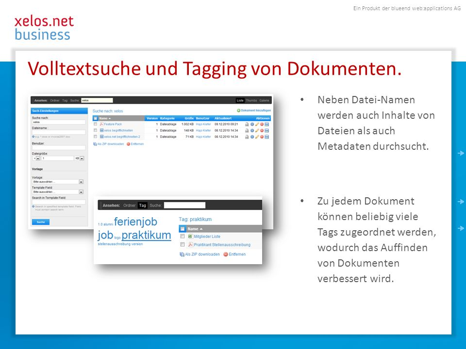 Volltextsuche und Tagging von Dokumenten.