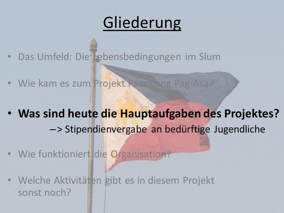 Gliederung Was sind heute die Hauptaufgaben des Projektes