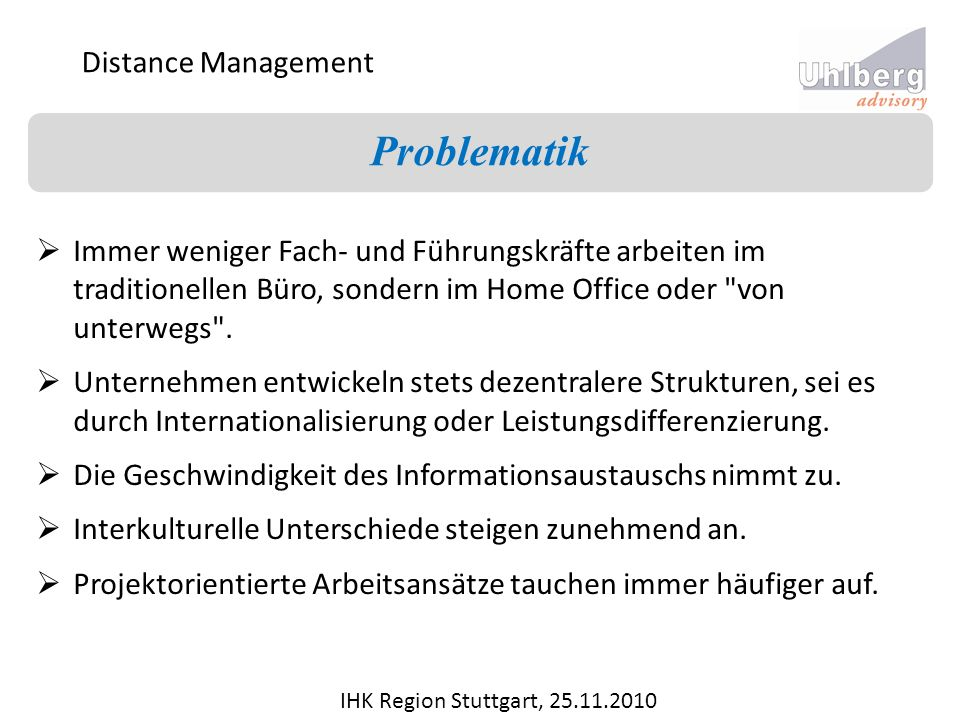 Problematik Distance Management