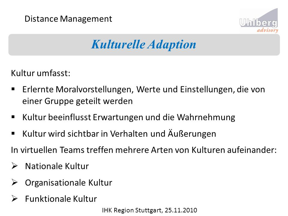 Kulturelle Adaption Distance Management Kultur umfasst:
