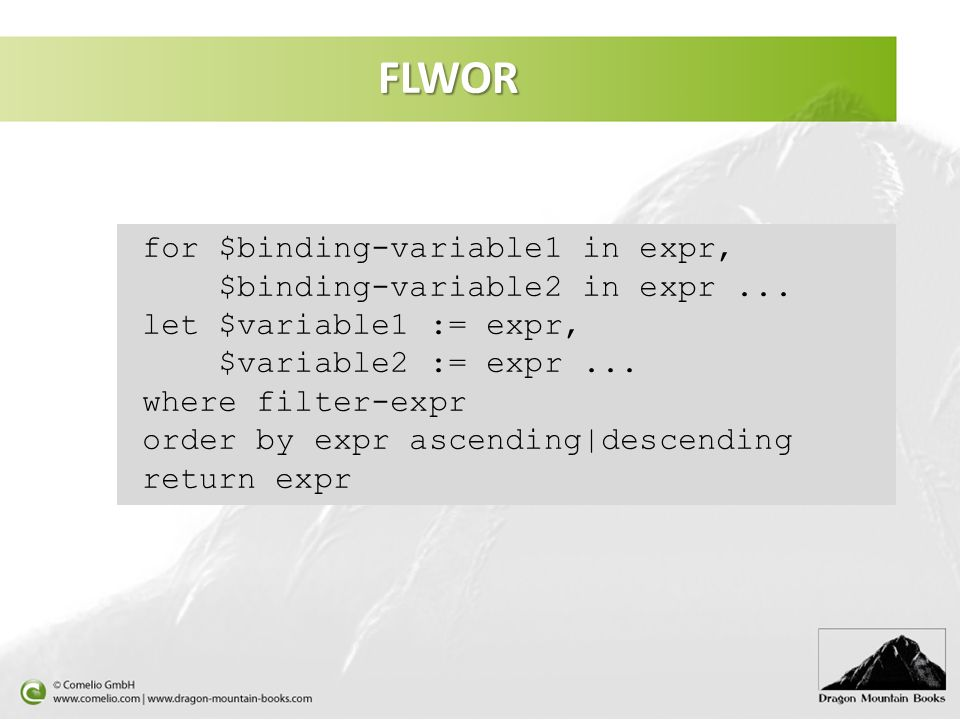 FLWOR for $binding-variable1 in expr, $binding-variable2 in expr ...