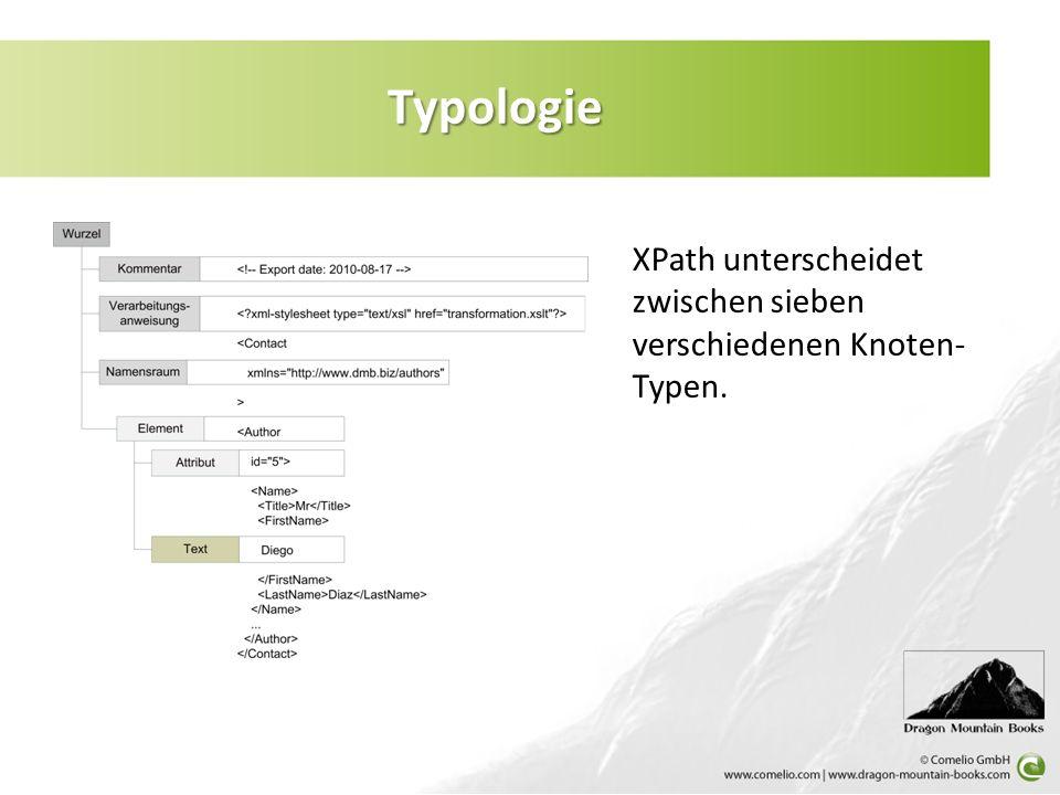 Typologie XPath unterscheidet zwischen sieben verschiedenen Knoten-Typen.