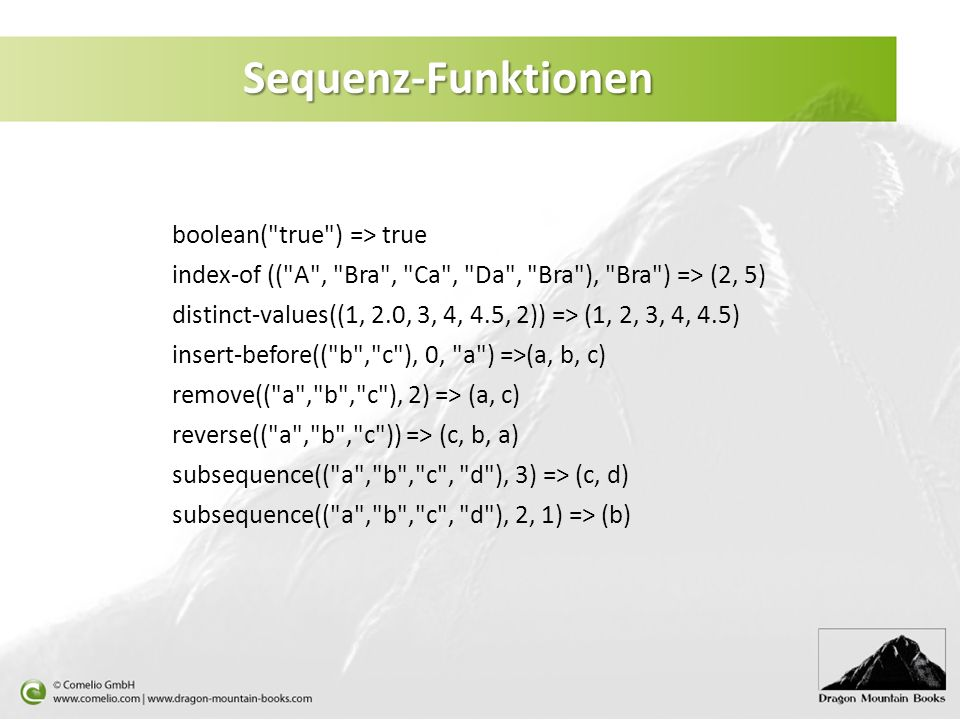 Sequenz-Funktionen boolean( true ) => true