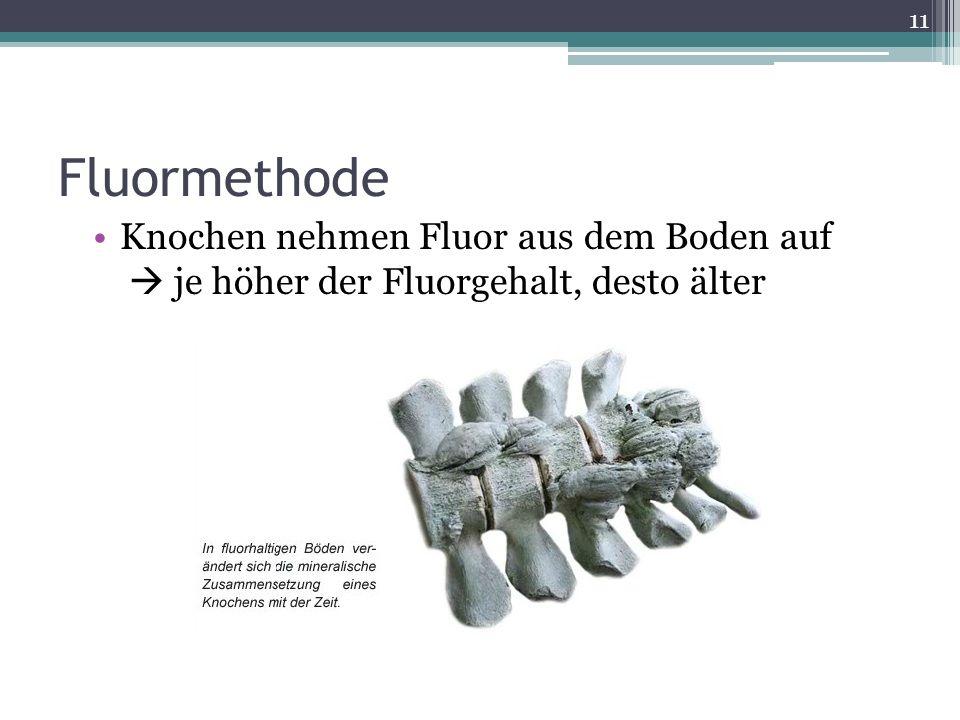 Fluormethode Knochen nehmen Fluor aus dem Boden auf  je höher der Fluorgehalt, desto älter