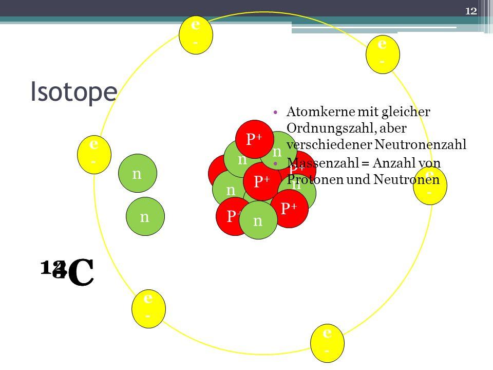 e- Isotope. Atomkerne mit gleicher Ordnungszahl, aber verschiedener Neutronenzahl. Massenzahl = Anzahl von Protonen und Neutronen.