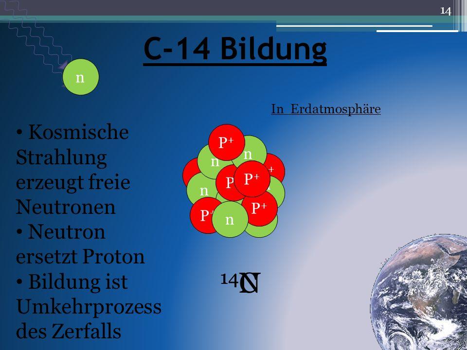 C-14 Bildung 14N 14C Kosmische Strahlung erzeugt freie Neutronen