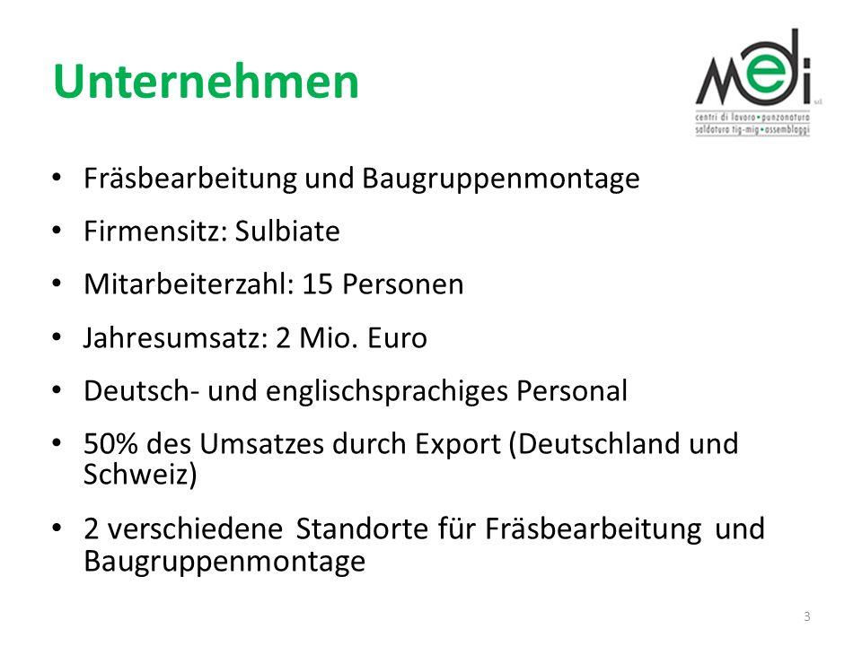 Unternehmen Fräsbearbeitung und Baugruppenmontage. Firmensitz: Sulbiate. Mitarbeiterzahl: 15 Personen.