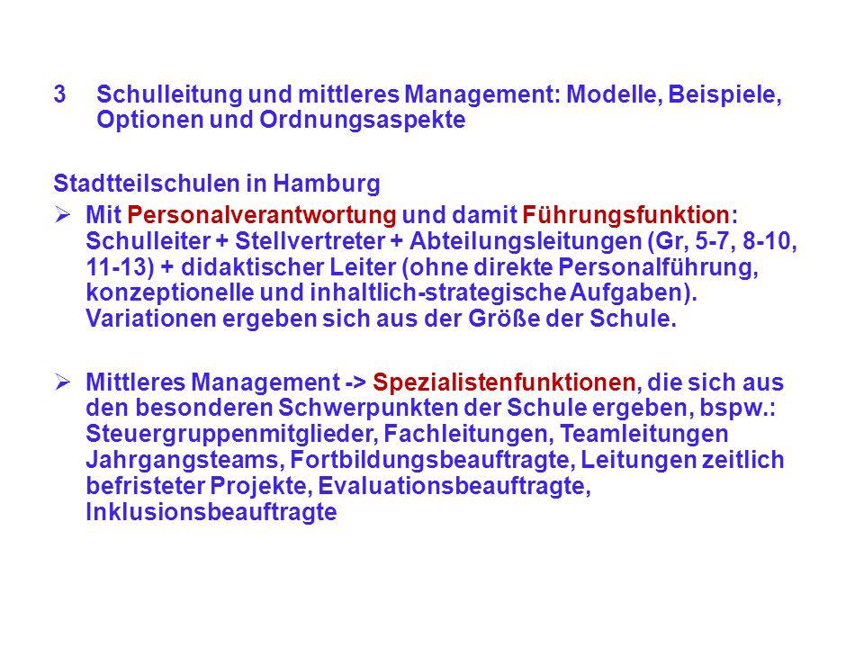 Schulleitung und mittleres Management: Modelle, Beispiele, Optionen und Ordnungsaspekte