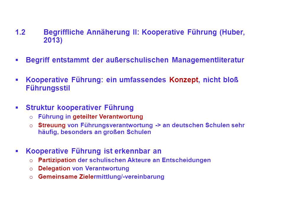 1.2 Begriffliche Annäherung II: Kooperative Führung (Huber, 2013)