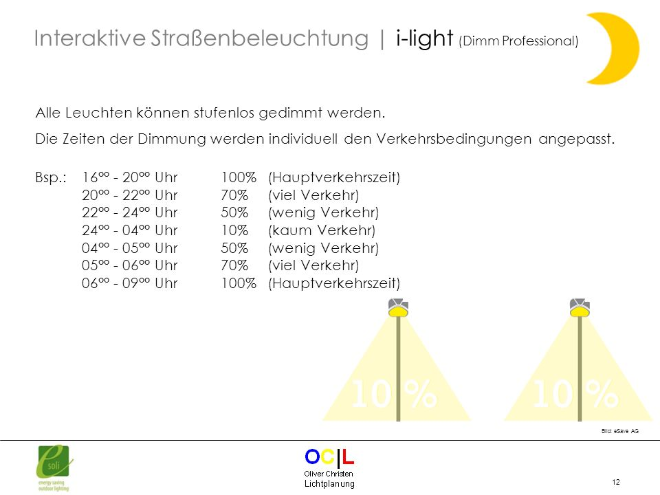 Interaktive Straßenbeleuchtung | i-light (Dimm Professional)