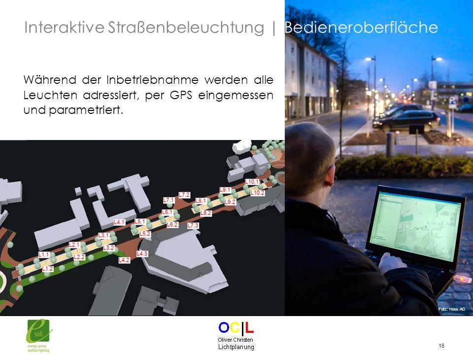 Interaktive Straßenbeleuchtung | Bedieneroberfläche