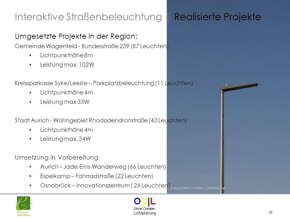 Interaktive Straßenbeleuchtung | Realisierte Projekte