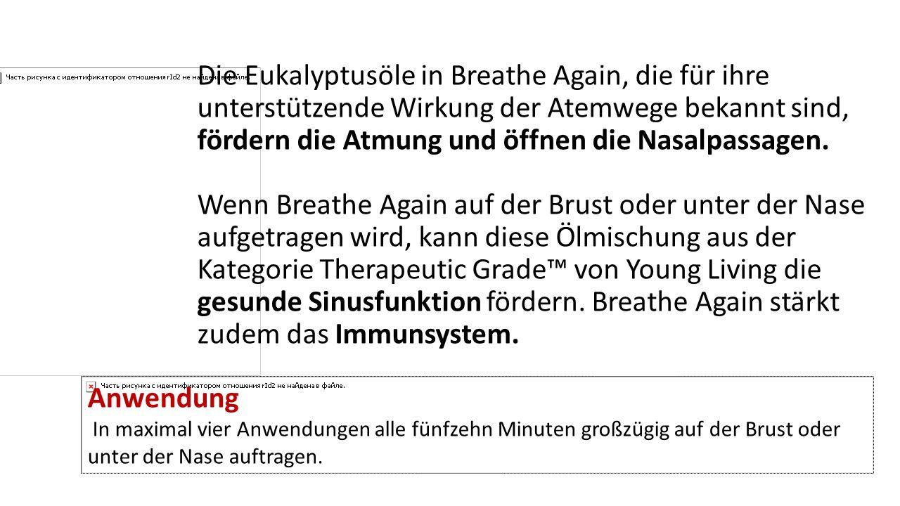 Die Eukalyptusöle in Breathe Again, die für ihre unterstützende Wirkung der Atemwege bekannt sind, fördern die Atmung und öffnen die Nasalpassagen. Wenn Breathe Again auf der Brust oder unter der Nase aufgetragen wird, kann diese Ölmischung aus der Kategorie Therapeutic Grade™ von Young Living die gesunde Sinusfunktion fördern. Breathe Again stärkt zudem das Immunsystem.