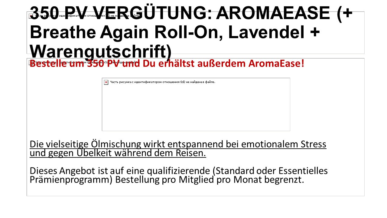 350 PV VERGÜTUNG: AROMAEASE (+ Breathe Again Roll-On, Lavendel + Warengutschrift)