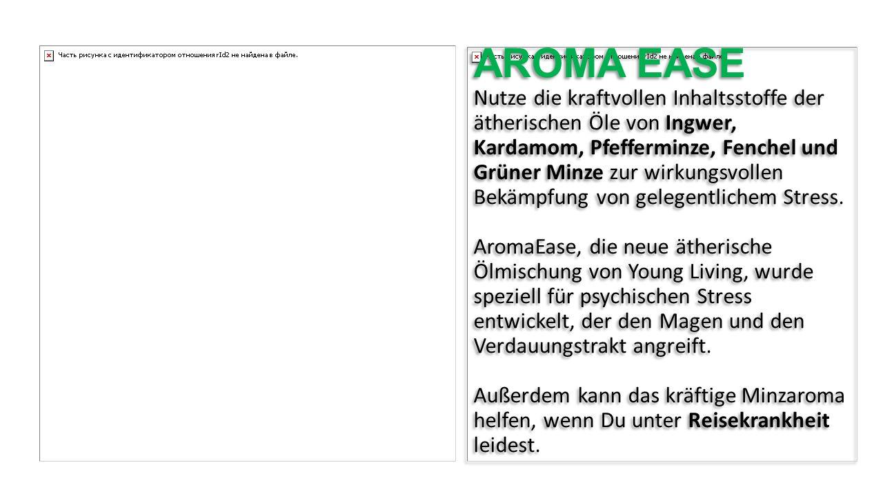 AROMA EASE Nutze die kraftvollen Inhaltsstoffe der ätherischen Öle von Ingwer, Kardamom, Pfefferminze, Fenchel und Grüner Minze zur wirkungsvollen Bekämpfung von gelegentlichem Stress.