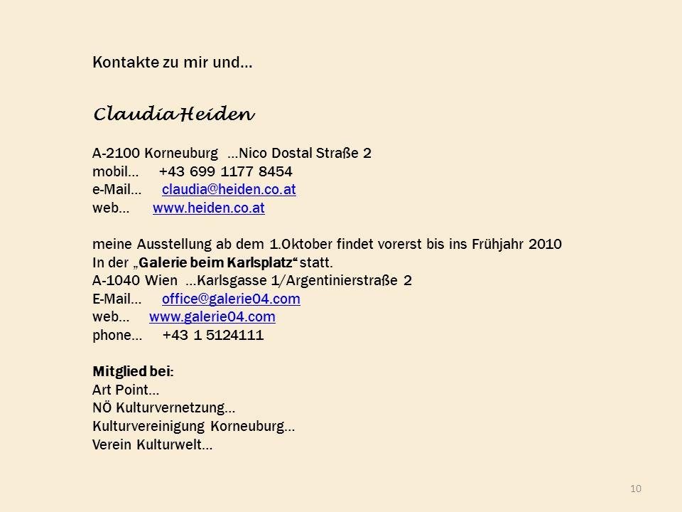Kontakte zu mir und… Claudia Heiden