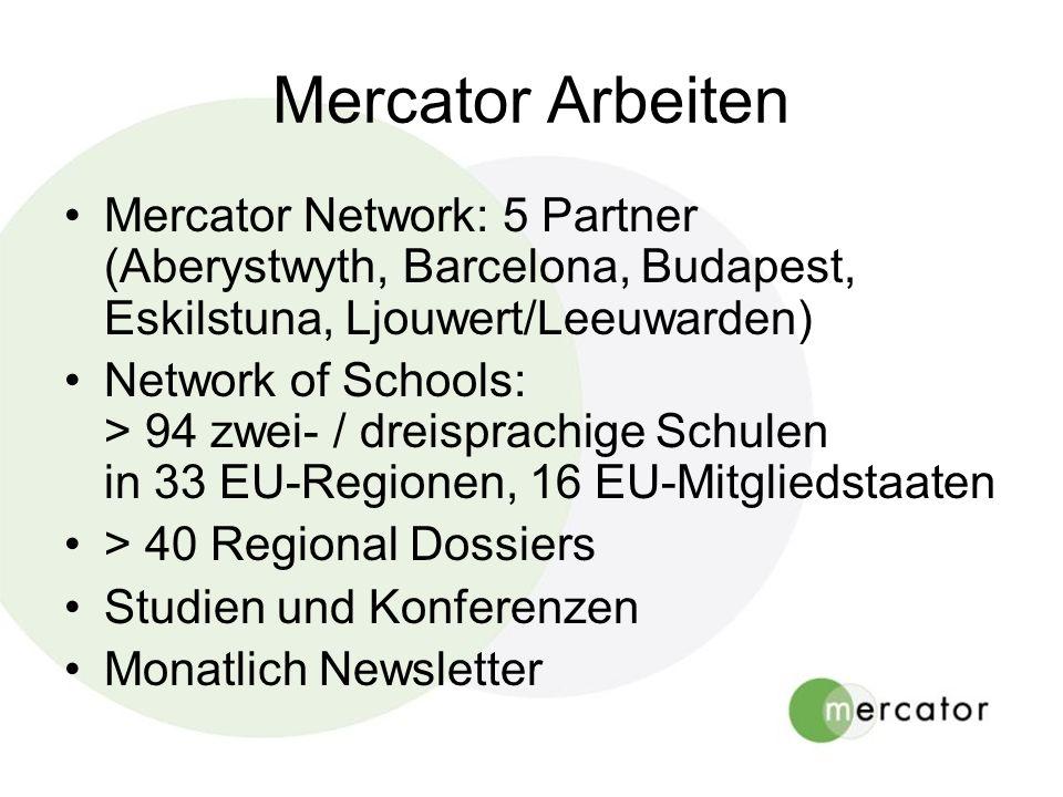 Mercator Arbeiten Mercator Network: 5 Partner (Aberystwyth, Barcelona, Budapest, Eskilstuna, Ljouwert/Leeuwarden)