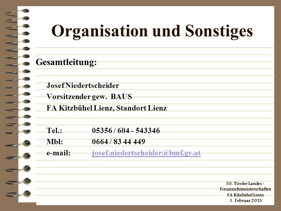 Organisation und Sonstiges