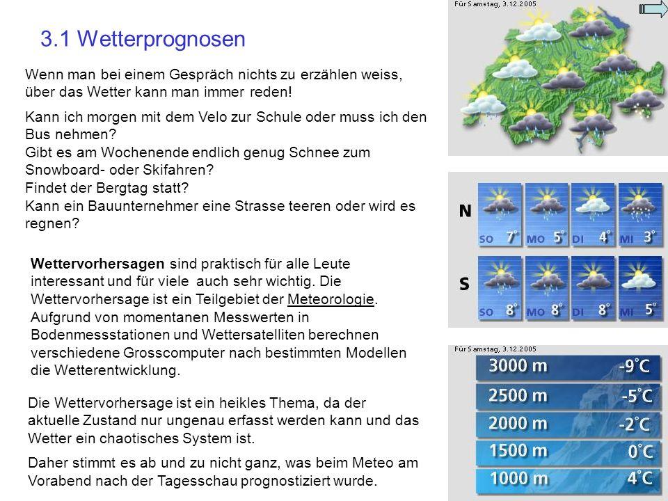 3.1 Wetterprognosen Wenn man bei einem Gespräch nichts zu erzählen weiss, über das Wetter kann man immer reden!