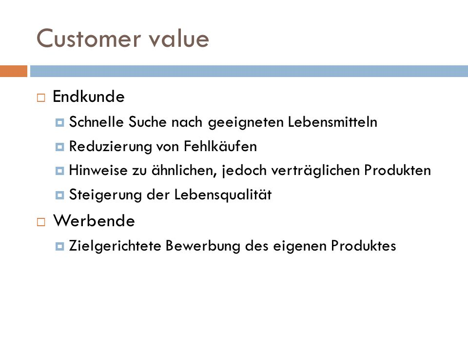 Customer value Endkunde Werbende